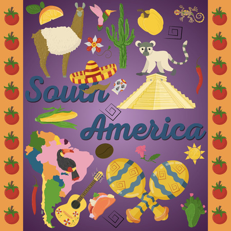 vector drawing in flat style on the theme of South America, animals, buildings, plants, holidays, continent map, food design elements tourism travel, sticker design for printing and decoration Illustration