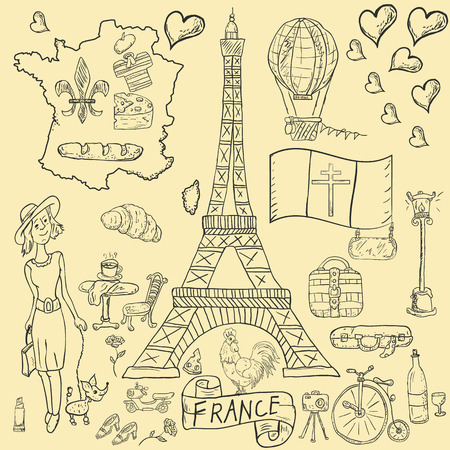 vector contour illustration, coloring, on the theme of a trip to the country of Europe, France, symbols and attractions, a set of drawings, print design and web design, Doodle style
