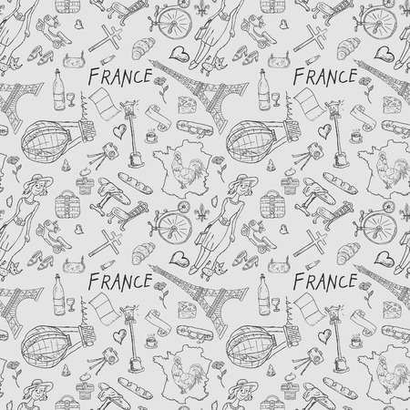 vector seamless illustration, texture, pattern, Doodle, travel to Europe France, symbols and attractions, set of drawings, print design and web design Illustration