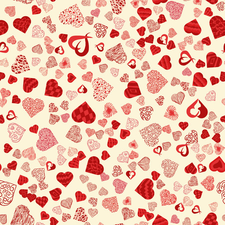 vector seamless pattern texture in the style of Doodle, in the form of a variety of hearts for print design and web design February 14 Valentines day,the background can be changed Illustration