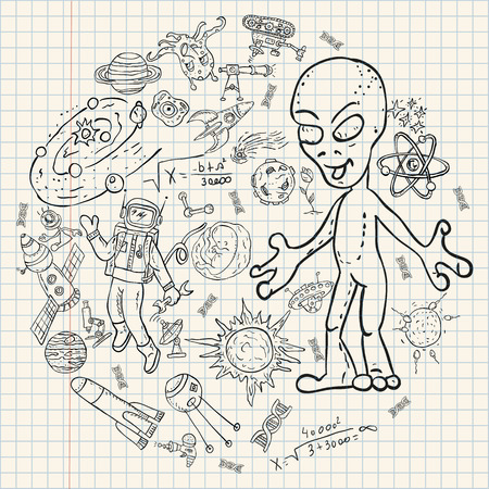 vector childrens drawings coloring pages on space theme, science and the emergence of life on earth, UFO, planet reproduction technique, universe, Doodle style, each drawing on a separate layer
