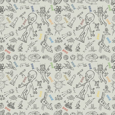 vector seamless pattern with childrens drawings on the theme of space, science and the emergence of life on earth, UFO's, planets technique of reproduction, the universe, Doodle style, background can be replaced