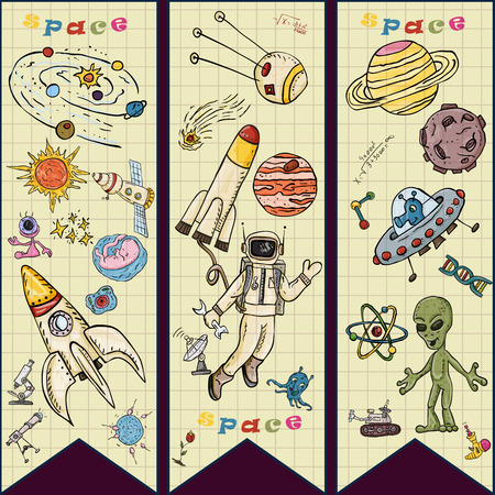 vector colored childrens drawings on the theme of space, science and the emergence of life on earth, UFO's, planets technique of reproduction, the universe, Doodle style, each drawing on a separate layer
