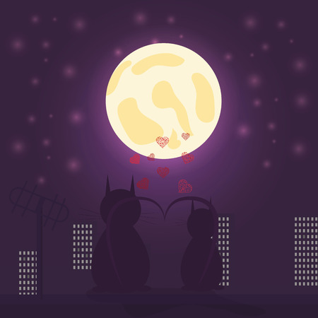 vector illustration of loving cat boy and cat girl sitting on the roof looking at the moon against the city background and hearts design for Valentines day