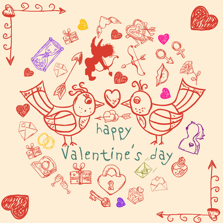 vector contour illustrations in the style of childrens Doodle on Valentines day, love, weddings, design and design of postcards banners, print and web, backgrounds and packages