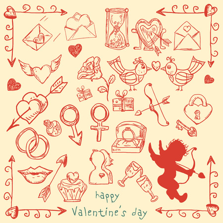 a large set of vector contour elements illustrations in the style of childrens Doodle on Valentines day, love, weddings, design and decoration of postcards banners, print and web, backgrounds and packages