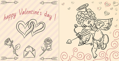 vector layout design cards in the style of childrens Doodle on the theme of Valentines day