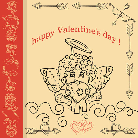 vector layout design cards in the style of childrens Doodle on the theme of Valentines day Cupid holds the heart in his hands Illustration