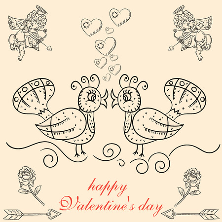 vector layout design the postcard in the style of childrens scribbles on the theme of Valentines day cupids shoot their bow in the kissing birds Illustration