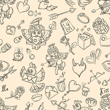 vector outline seamless pattern illustration in the style of childrens scribbles on the theme of Valentines day, for design and background can be replaced Illustration