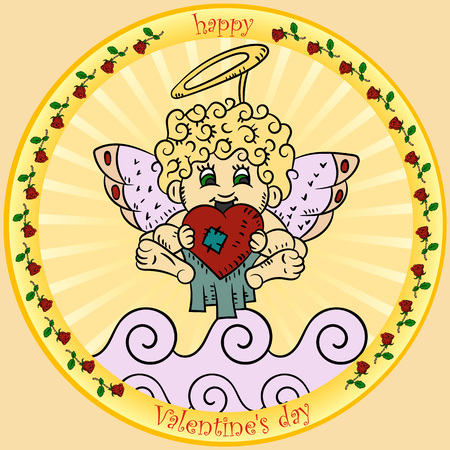 vector color illustrations in the style of childrens scribbles on the theme of Valentines day, Cupid is holding a heart sitting on a cloud round sticker