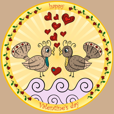 vector color illustrations in the style of children's scribbles on the theme of Valentine's day, two birds kissing round sticker Illusztráció