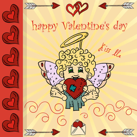 vector layout design full-color postcards in the style of children's scribbles on the theme of Valentine's day Cupid holding a heart Foto de archivo - 115916448