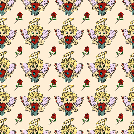 vector colored seamless pattern illustration in the style of childrens scribbles on the theme of Valentines day cupids for the design and background can be replaced