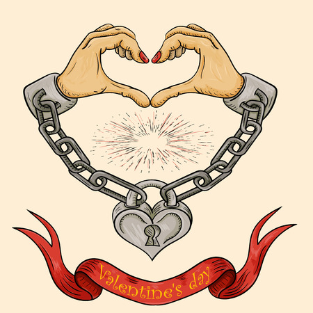 vector color illustration of Valentines day theme hands in the form of a heart shackled with chains and closed on a padlock