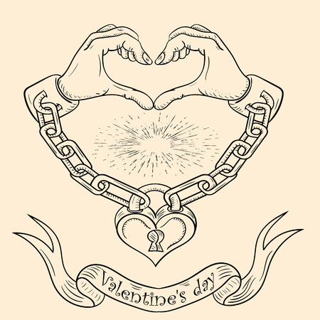 contour vector illustration on the theme of Valentines day hands heart chained in shackles and chain closed on the padlock