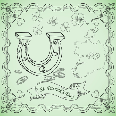 vector contour illustration coloring on the theme of St. Patricks day celebration, horseshoe bringing good luck Banque d'images - 124703598