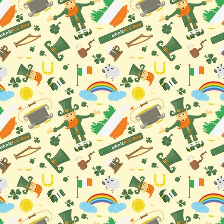 vector illustration seamless pattern Irish design for St. Patricks day holiday, drawn in flat style Illustration