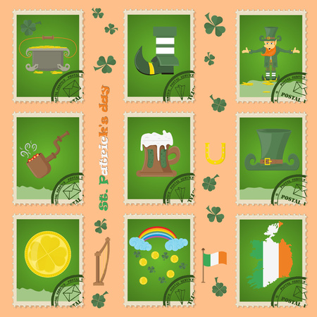 vector illustration elements of Irish design for St. Patricks day holiday, in the form of postage stamps, drawn in flat style