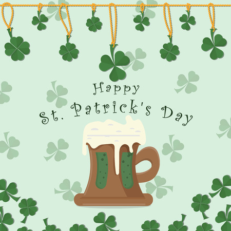 vector illustration of festive background cover, for St. Patricks day holiday, clover leaves on a chain and a mug of beer foam, ale, greeting inscription Illustration