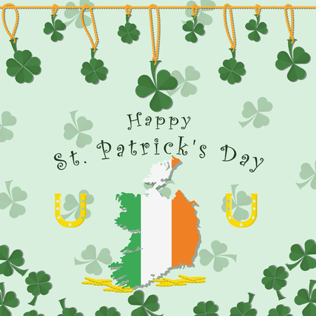vector illustration of festive background cover, for St. Patricks day holiday, clover leaves on a chain, map of Ireland and horseshoes with coins, greeting inscription Illustration