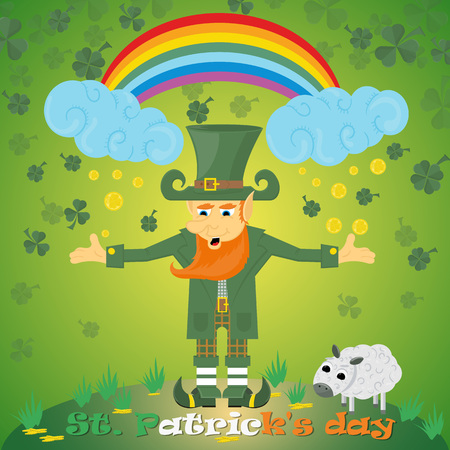 vector illustration of Irish leprechaun gnome with rainbow with clover and coins for St. Patricks day holiday, drawn in flat style