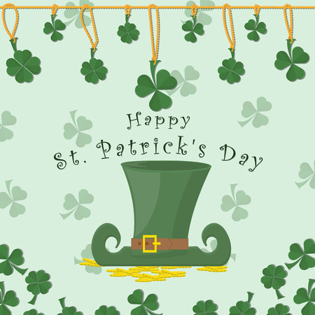 vector illustration of festive background cover, for St. Patricks day holiday, clover leaves on a chain, leprechaun hat stands on gold coins, greeting inscription