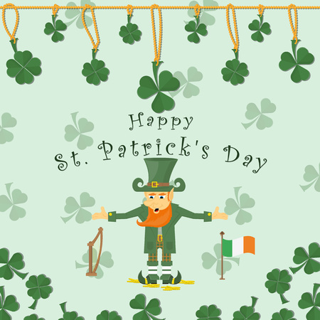 vector illustration of a festive background cover, to celebrate St. Patricks day, leaf clover necklace, lucky charms is on gold coins red with the flag of Ireland and the harp, a congratulatory inscription