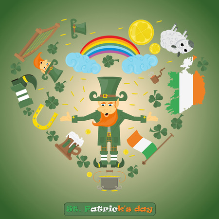 vector illustration of Irish design elements for St. Patricks day holiday, drawn in flat style Illustration