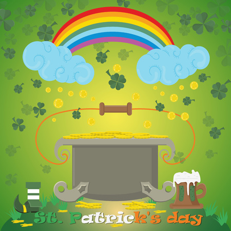 vector illustration of leprechauns cauldron with gold coins stands on the lawn and collects coins from the rainbow on the feast of St. Patricks day, drawn in flat style Illustration