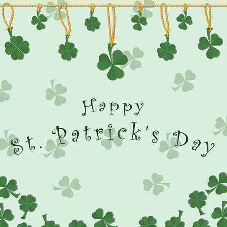 vector illustration of festive background cover for St. Patricks day holiday, clover leaves on chain and greeting inscription