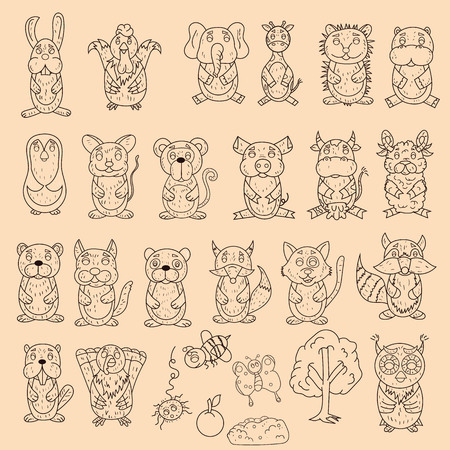 vector large set of wild and domestic animals coloring pages in the style of childrens scribbles for design and design background is isolated