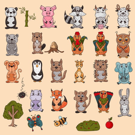 vector large set of wild and domestic animals colored in the style of childrens scribbles for design and design background is isolated