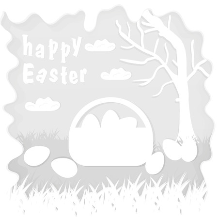 vector illustration in paper style on the theme of Easter basket with eggs near the tree, for the design of stickers and covers Çizim