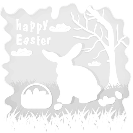 vector illustration in paper style on the theme of Easter celebration a little rabbit sitting on the lawn next to a basket of eggs near the tree, for the design of stickers and covers