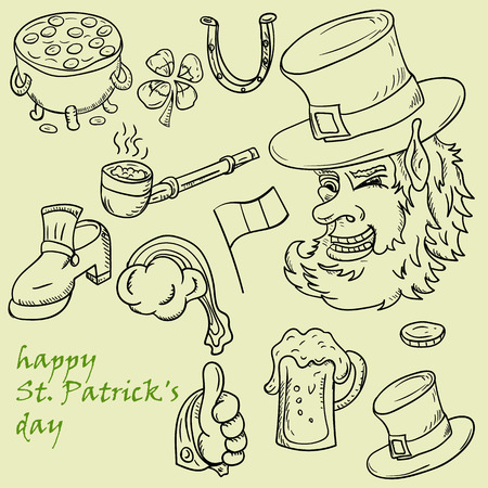 vector contour illustration coloring on the theme of St. Patricks day celebration, set of elements for design and decoration Illustration