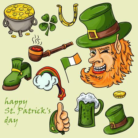 vector color illustration on the theme of St. Patricks day celebration, set of elements for design, printing and decoration Illustration