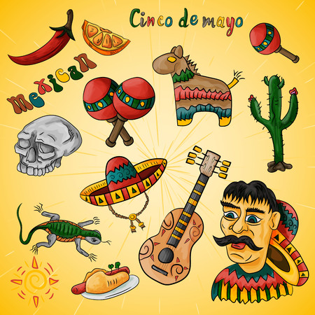 vector set of illustrations of design elements on the Mexican theme of Cinco de mayo celebration all drawings on a single layer