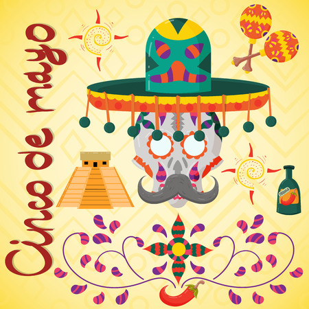 vector illustration on Mexican theme of Cinco de mayo celebration in flat skull style in sombrero for decoration and design