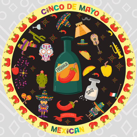 vector design stickers in circular ornament on the theme of Cinco de mayo celebration day in flat style, signs and symbols of Mexican culture