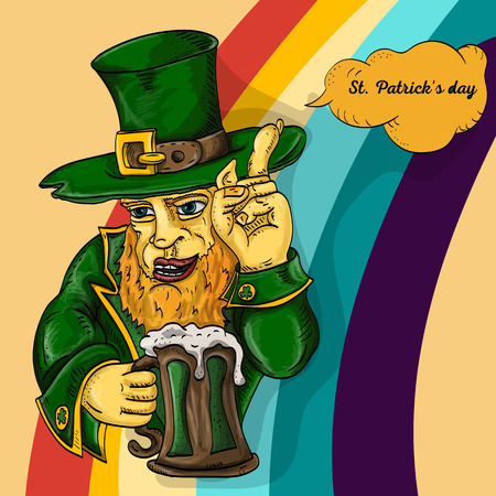 vector color illustration coloring on the theme of St. Patricks day celebration, leprechaun holding a glass of foam ale, on a rainbow background Illustration
