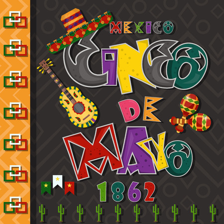 vector, poster card layout for the design of stickers, leaflets, covers, text colored lettering calligraphy on the theme of Cinco de mayo in flat style