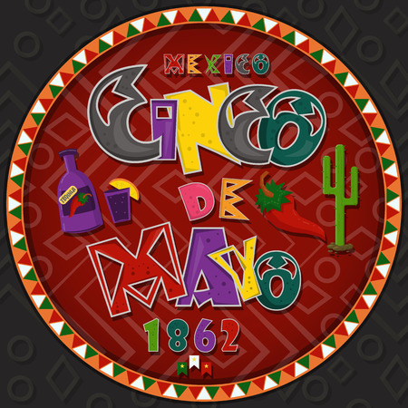 vector design in a circular pattern on a Mexican theme of celebrating Cinco de mayo in style flat inscription calligraphy in the circle of Mexican culture, backgrounds for covers and labels