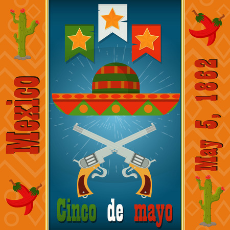 Cinco de mayo, sombrero and two crossed colt, vector layout for postcard design, background, stickers, for Mexican holiday decoration in flat style Stok Fotoğraf - 119987648