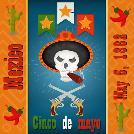 Cinco de mayo skull with a cigar in a sombrero with the colts, vector layout to design greeting cards, background, stickers, for registration of the Mexican holiday in style flat Illusztráció
