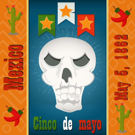 Cinco de mayo,the skull of the skeleton, vector layout to design greeting cards, background, stickers, for registration of the Mexican holiday in style flat Illustration