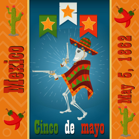 Cinco de mayo,a skeleton in a sombrero and poncho with colt in the hands of a vector layout to design greeting cards, background, stickers, for registration of the Mexican holiday in style flat