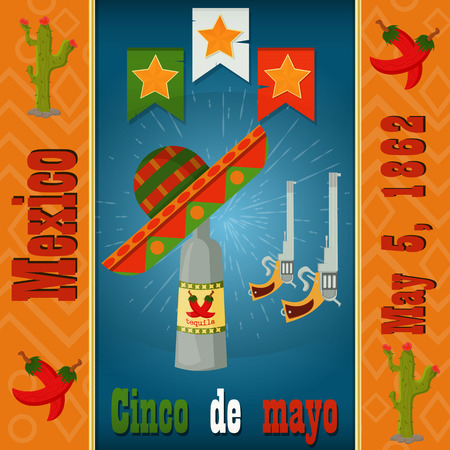 Cinco de mayo,a bottle of tequila, a sombrero, two colt, vector layout to design greeting cards, background, stickers, for registration of the Mexican holiday in style flat