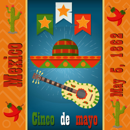 Cinco de mayo, sombrero and painted guitar colt, vector layout for postcard design, background, stickers, for Mexican holiday decoration in flat style