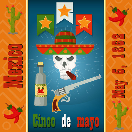 Cinco de mayo skull with a cigar in a sombrero with colt and tequila, vector layout to design greeting cards, background, stickers, for registration of the Mexican holiday in style flat